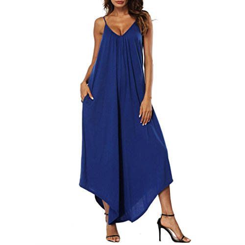 Rambling New Women's Punk Spaghetti Strap Jumpsuit Casual Loose Wide Legs Comfy Loose Harem One Piece Romper by Rambling