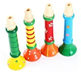 Wooden Trumpet, Iusun Multi-Color Musical Horn Hooter Trumpet Kids Children Instruments Toy Educational Toys (Random)