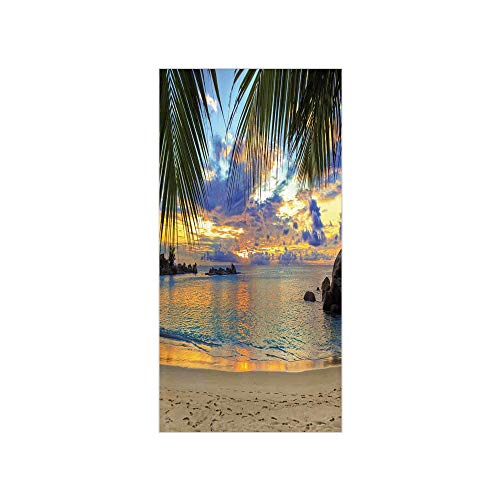 3D Decorative Film Privacy Window Film No Glue,Coastal Decor,Sunset at Beach Rumbling Ocean Luxurious Resort with Palm Trees Travel Locations Picture,for ()