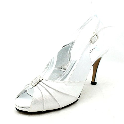 shoes diamante back Shimmer high heel wedding Ladies peep with sling toe rouched Silver I18qwBY