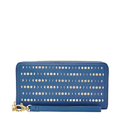 (Fossil Women's Logan Blue Zip Around Clutch Wallet)