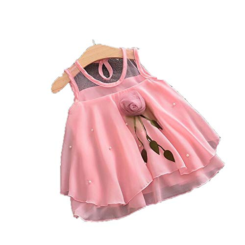 (Toddler Baby Girls Dresses Solid Tulle Flowers Dress Girl Girls Dress 1 to 2 Years Party Princess Costume PK)