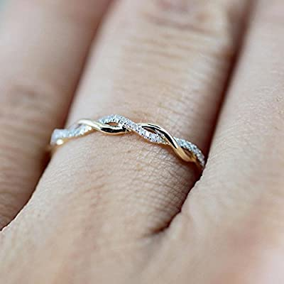 Ikevan Hot Selling Twisted Shape Diamond Engagement Ring Stacking Matching Band Anniversary Ring