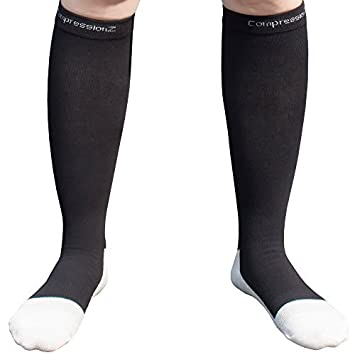 CompressionZ - Calcetines de compresión (1 par) 20-30Mmhg - para Hombres y Mujeres - Color -Black - Talla - Large: Amazon.es: Deportes y aire libre