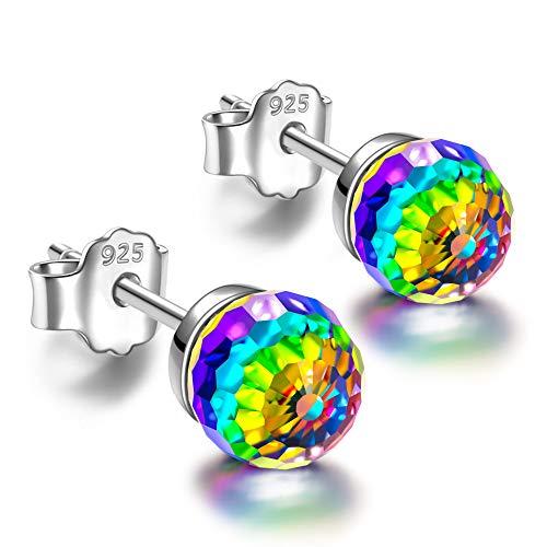 NINASUN Rainbow Princess Women Christmas Earrings Gifts Ball Sterling Silver Crystal Clip On Stud Earrings for Women with Vitrail Medium Crystal from Swarovski Hypoallergenic (Real Stud Ball Earrings Swarovski)