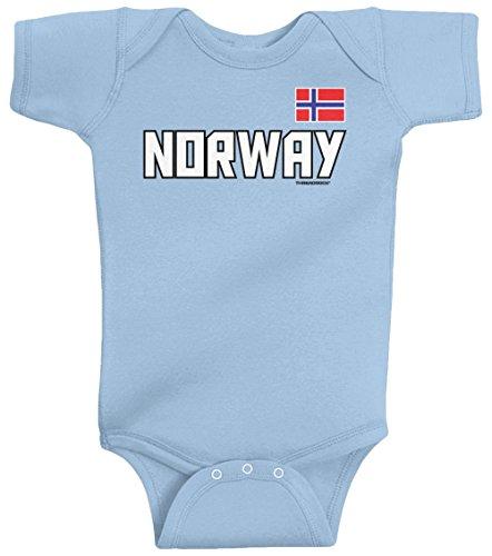Threadrock Unisex Baby Norway National Pride Bodysuit 6M Light - Norway Blue Light