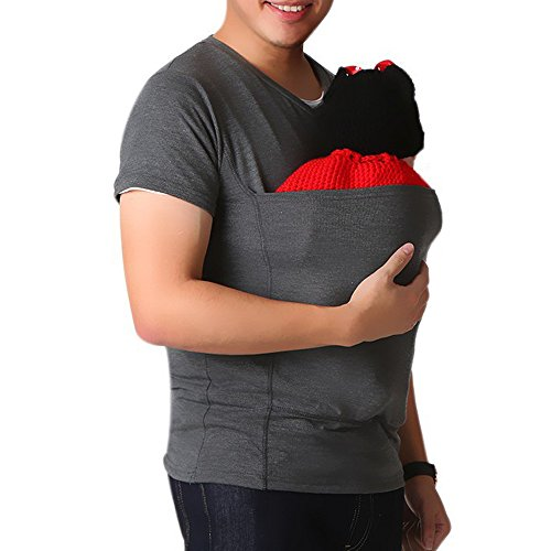 T-Shirt Unisex Big Pocket Pet Cat Carriers Pullover,Short Sleeve Dad Tee [Pet Holder] Casual Sweatshirts [Kangaroo Pouch Hoodies Sweater] (L, Dark Gray)