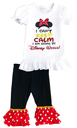 Angeline Girls Summer Minnie Bow I Can't Keep Calm I'm Going To Disney World 18-24M/XS (Minnie Outfit)