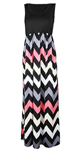 Slim Sleeveless Comfy Jaycargogo Stripe Womens Dress 6 Elegant Casual Maxi Vest 6nf77EW1q