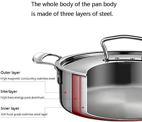 Pot en acier inoxydable, épaissie inférieure à trois couches, grande capacité, couvercle de pot en acier inoxydable et poignées résistant à la chaleur (Size : 24 * 8.5cm)