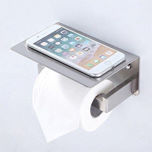 (APL Toilet Paper Holder with Phone Shelf, Turn Left Direction, SUS304 Stainless Steel Bathroom Paper Tissue Holder Storage Rack (Brushed Nickel-L))