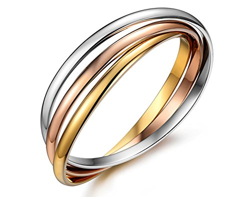 Cos2be Stainless Steel Tri-Color Interlocking Bangle Bracelets (Tri-color )