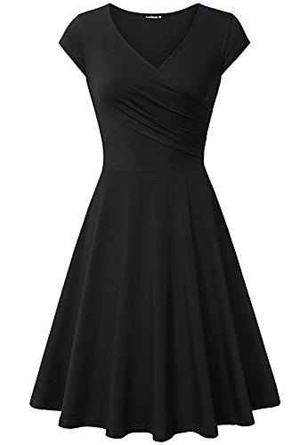 LouKeith Women Plus Size Casual V Neck Short Cap Sleeve Slim Tunic Flare Dress Black (Short Black Dress Plus Size Women)