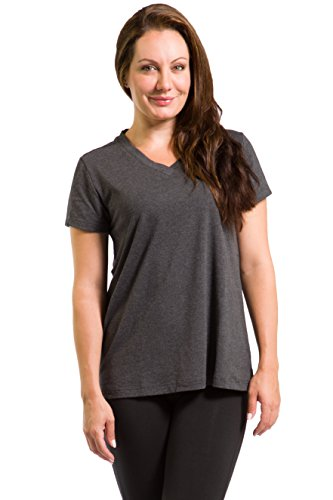 Fishers Finery V Neck Tee Shirt for Women - Sustainable Earth Conscious Clothing ,Heather Gray ,Large