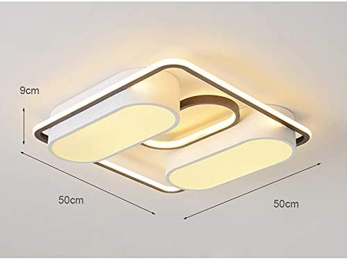 LED Square Ceiling Lights Dimmable,3000K-6500K Bedroom Dining Room Flush Mount Light Fixture Ceiling Chandelier Acrylic Shade Modern Ceiling Lamp