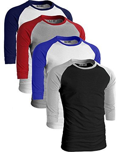 3/4 Tee Crewneck Sleeve (OLLIE ARNES Men's Basic Crewneck 3/4 Sleeve Cotton T-Shirt Raglan Baseball Top WHNAV_LTGRED_WHRBLU_BKLTG 1XL)