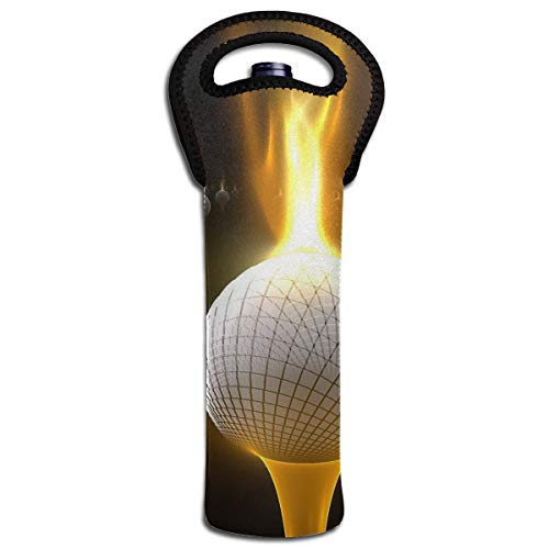 YYH Single Wine Tote Bag,Insulated Padded Thermal Wine Bottle Carrying Cooler Carrier for Picnic,Fire-Golf-Balls-Elegant-Wallpaper