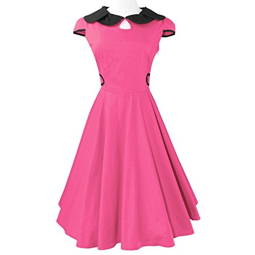 Heroecol 50s 60s Hepburn Petal Neck Style Vintage Retro Swing Rockailly Dresses Size S Color Pink