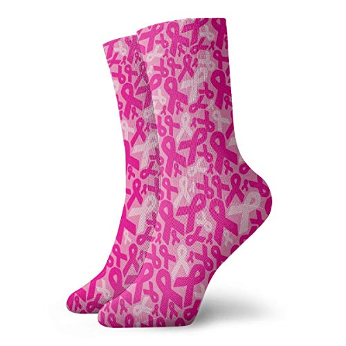Ribbon Quarter Pink Socks (Holiday Pink Cancer Ribbons Ankle Socks Crazy Short Crew Socks Quarter Socks for Team)