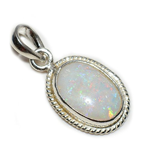 Jewelryonclick Opal Pendant Charm 7 Carat Natural Genuine Oval Gemstone 92.5 Sterling Silver (Genuine Oval Opal Pendant)