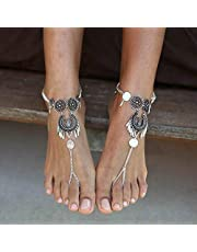 Zoestar Gypsy Coin Anklet Bracelet Tassel Layered Foot Jewelry Silver Beach Barefoot Sandal for Women and Girls