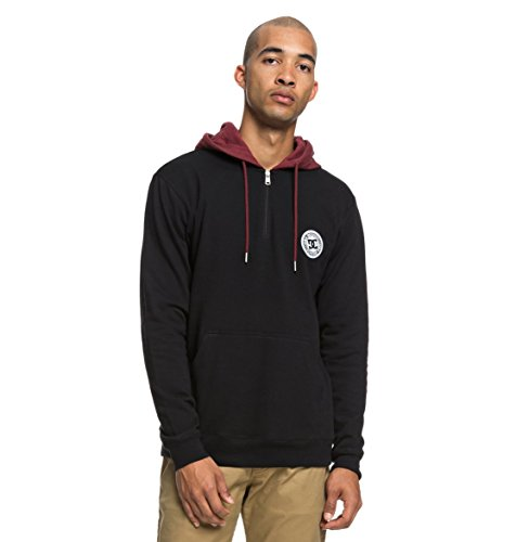 (DC Shoes Mens Shoes Rebel - Half Zip Hoodie - Men - L - Black Black)