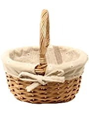 Kuinayouyi Hand-Woven Wicker Basket Simulation Flower Basket Single Handle Small Flower Basket with Hand Gift Basket