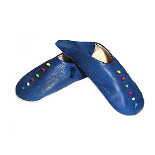 Babouche Rosa Marrakech bleu foncé, babouches confectionnees et cousues main, chaussons en cuir veritable et soie de sabra, pantoufles souples et legeres