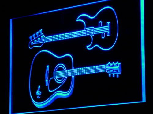 Guitars Rock n Roll Bar Music LED Sign Neon Light