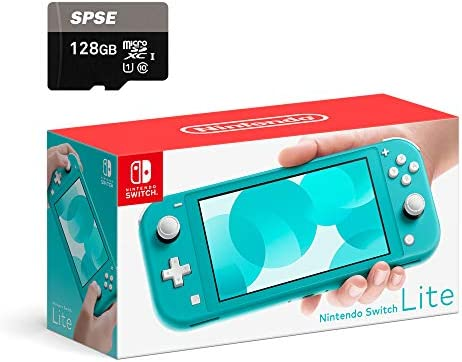 Nintendo Switch Lite Console - Turquoise - with SPSE 128GB Micro SD Card and Adapter