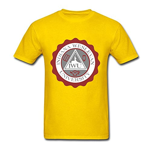 [Funny Male Indiana Wesleyan University Seal Round Neck Short Sleeve Tee Shirt Yellow XXL Costume] (Hobbes Costumes For Sale)