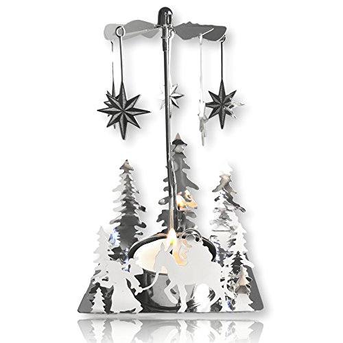 (BANBERRY DESIGNS Nativity Candle Spinner - Laser Cut Plated Silver Tea Light Holder with a Nativity Scene and Moravian Stars - Scandinavian Design Candle Holder)