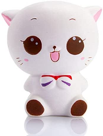 WATINC 1 Pcs Jumbo Squishy Kawaii White cat Cream Scented Charms, Lovely Toy for Stress Relief Toy Decorations Toy, Large Decorations Toy Large(White cat)