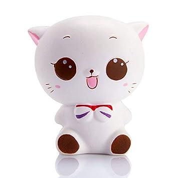 Amazon.com: WATINC 1 pieza Jumbo Squishy Kawaii blanco gato ...