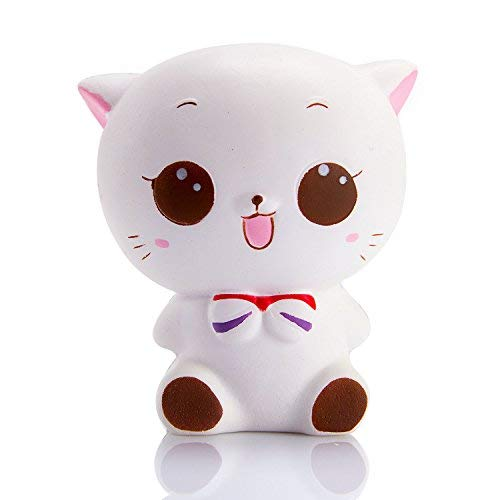 WATINC 1 Pcs Jumbo Squishy Kawaii White cat Cream Scented Charms, Lovely Toy for Stress Relief Toy Decorations Toy, Large Decorations Toy Large(White cat) -