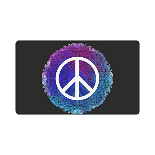 InterestPrint Hippie Mandala Floral Peace Sign Doormat Indoor Outdoor Entrance Rug Floor Mats Shoe Scraper Door Mat Non-Slip Home Decor, Rubber Backing Large 30