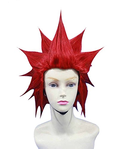 Coslive Axel Wig Kingdom Hearts Anime Red Hair Case-Hardened Cosplay Costume Wig Accessory ()