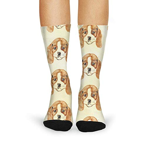 Milr Gile Women's Watercolor Dog Pattern Crew Tube Socks Crazy Novelty High Athletic Socks