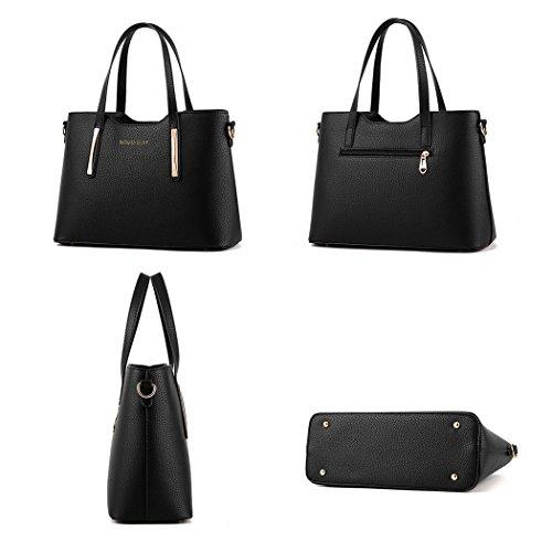 Women's 2 1 XMLiZhiGu Shoulder PU Black Bag Top Handle Tote Crossbody Leather Bag Handbag dwqOwaP
