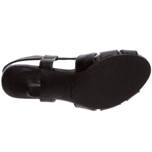 Clarks Saturn Launch, Damen Sandalen Schwarz (Black Leather)