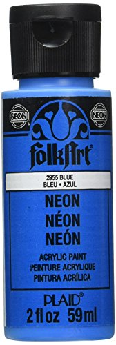 FolkArt Neon Acrylic Paint in Assorted Colors (2 Ounce), 2855 Neon Blue