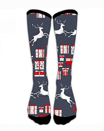 SARA NELL Unisex Men & Women Classics Crew Socks Christmas Santa Clause and Reindeer Pattern Thick Warm Cotton Crew Winter Socks Personalized Gift Socks