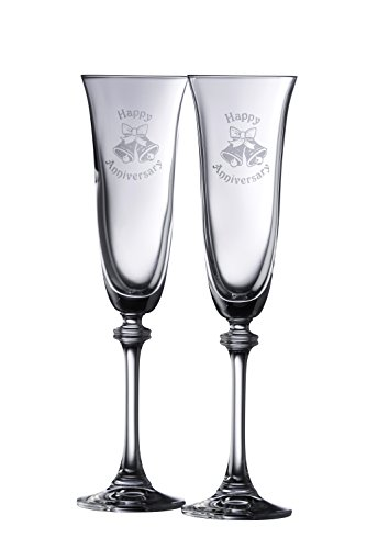 - Galway Crystal Happy Anniversary Liberty Flutes (1 Pair), Clear