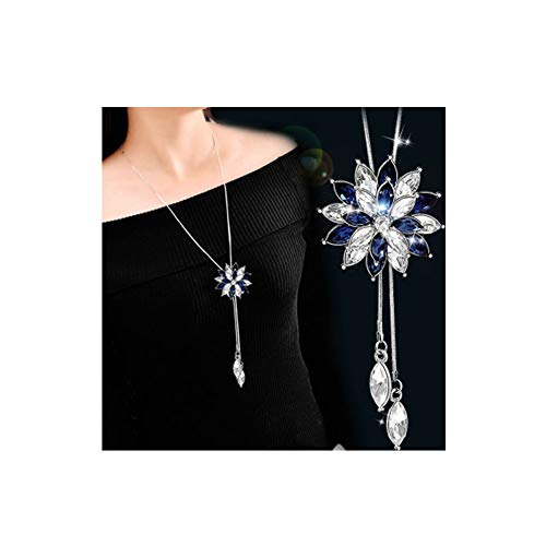 - Luxury Blue Crystal Swan Pendant Necklace Long Sweater Chain Necklace For Women Animal Jewelry Accessories(Blue ice flower)