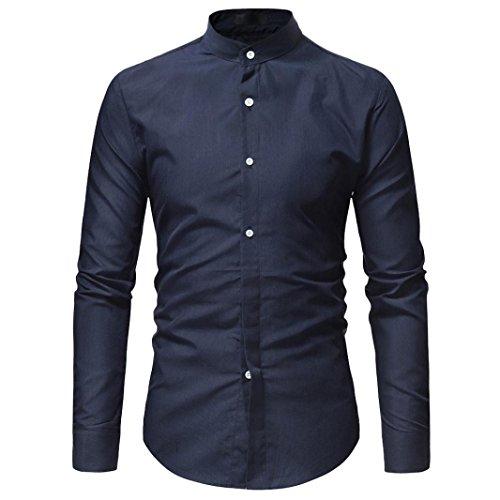 kaifongfu Dress Shirt, Clearance Sale Men's Long Sleeve Slim Pure Color Button Shirt(Navy,XL) by kaifongfu-mens clothes