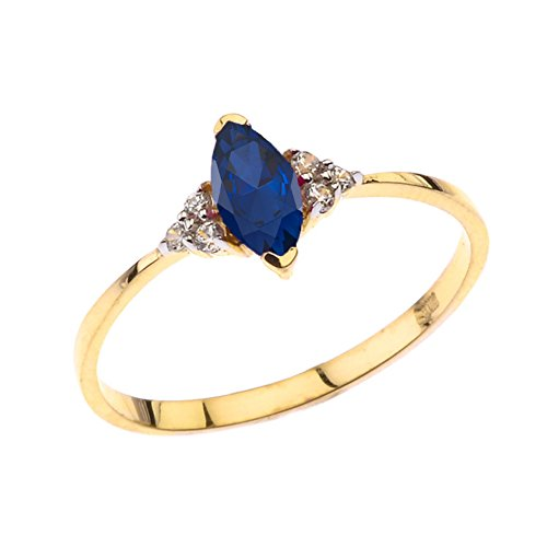 Dazzling 10k Yellow Gold Genuine Marquise Sapphire with White Topaz Proposal/Promise Ring (Size ()