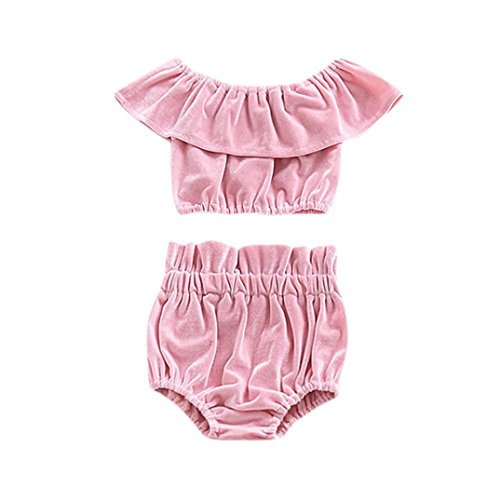 Goodlock Newborn Infant Fashion Clothes Set Baby Girls Solid T-Shirt Ruffles Sleeve Tops Shorts Outfits Clothes Sets (Pink, Size:12M) (Velvet Onesie)