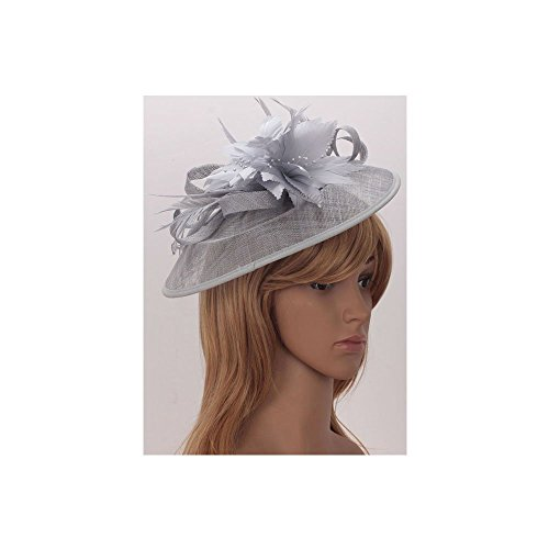 LeahWard®sac de femme Styliste modéliste Fascinator Hat Hair Accessories Wedding Hen Fête qualité Flower Feather Headband / Comb CWH00205 CWHA006 CWH00202 (CWH00202-Gris avec Comb)