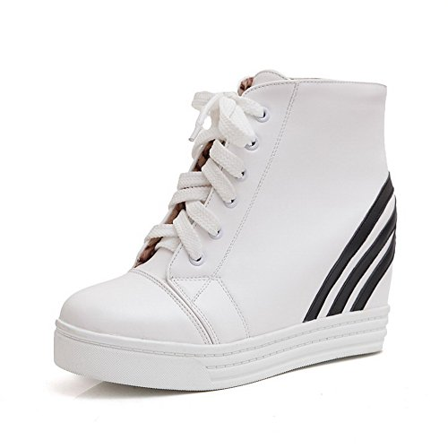 Toe Low Boots Top Round Allhqfashion Women's High PU Assorted Heels White Closed Color UnOO6txwq