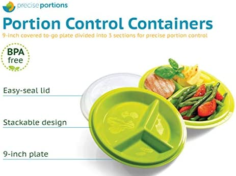 Precise Portions Go Healthy Portion Control Plates with Vented Lids, 4pk - BPA-Free Portion Control Containers Great for Weight Loss, Blood Sugar Support, Meal Planning - Dishwasher & Microwave Safe 4